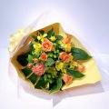 オレンジ×イエロー バラ中心のスタンダード花束