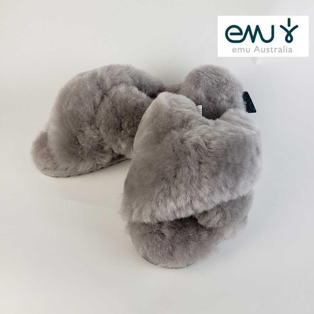 【30%OFF】EMU Mayberry エミュー メイベリー カラー CHARCOAL/ファーサンダル