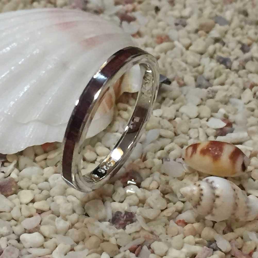 ハワイアンジュエリー コアウッドシルバーリング 幅細 2mm/指輪