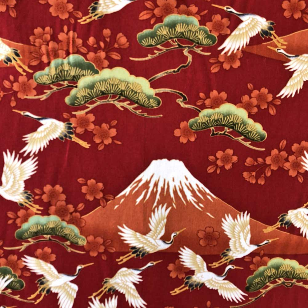 ハワイアン生地 赤富士×ツル コットン