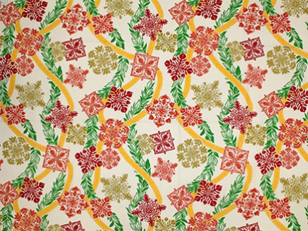 ハワイアン生地 キルトモチーフ柄 ナチュラル白赤緑