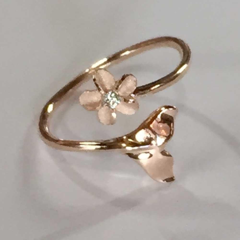 ハワイアンジュエリー ピンクシルバートゥーリング ホエールテール×プルメリア/ピンキーリング Toe Ring 足用 指輪