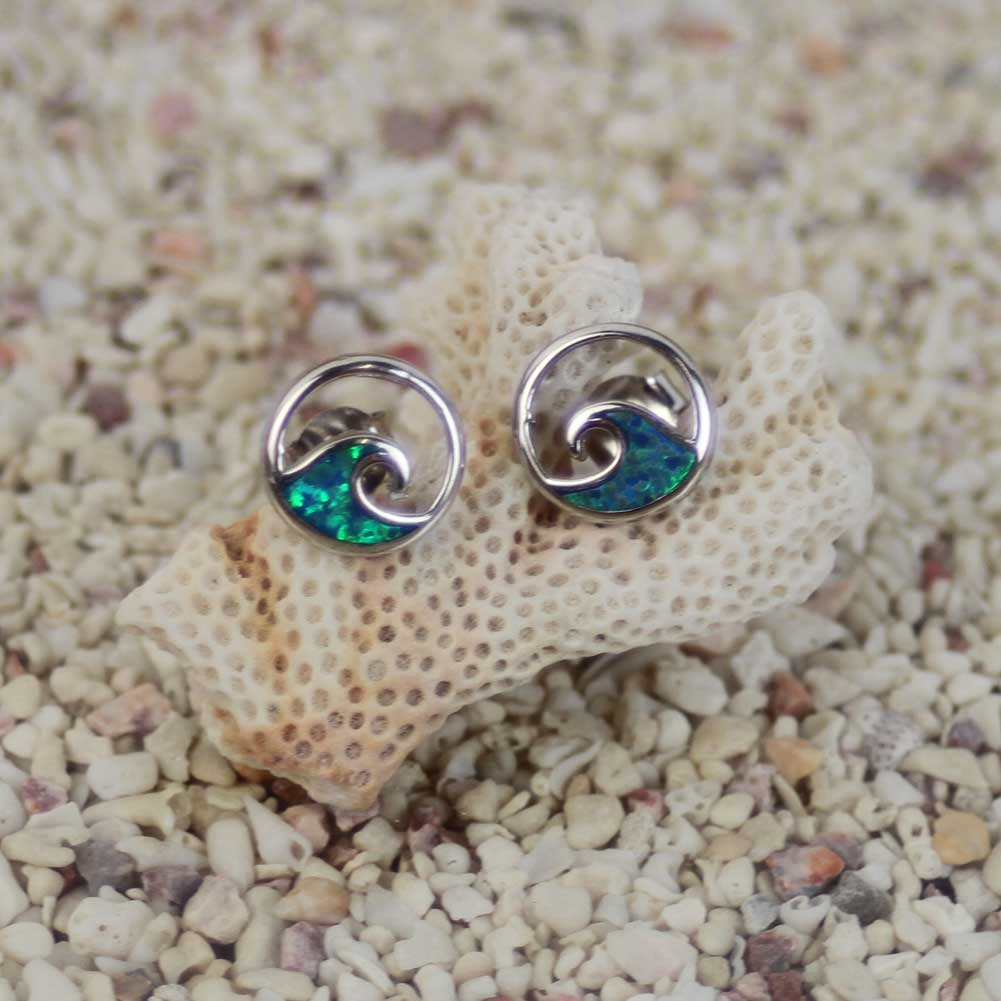 ハワイアンジュエリー シルバーピアス wave ターコイス シルバー シルバー925 hawaiian jewelry ギフト プレゼント 誕生日 バレンタイン ホワイトデー 白浜マリーナ