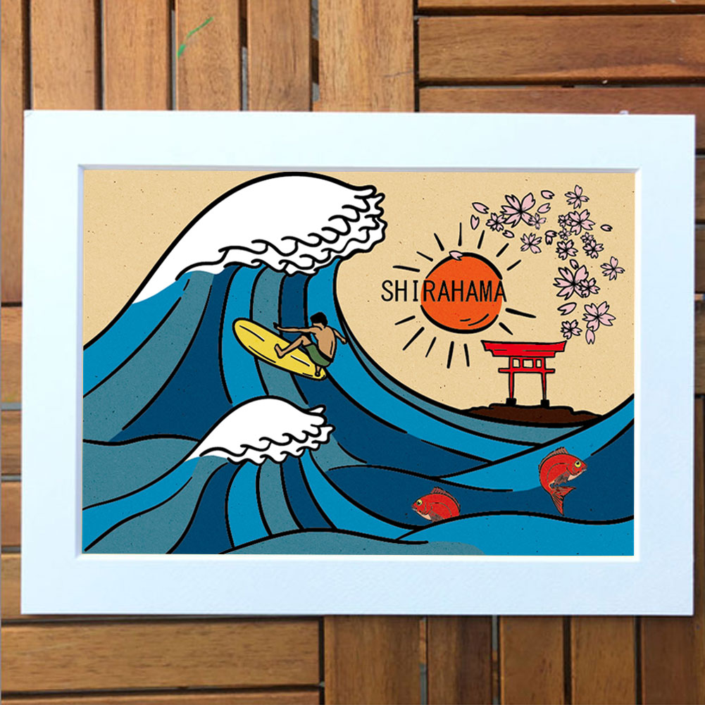 COCO&LOCO アートプリント 白浜マリーナオリジナルデザイン/サーフアート プリントアート