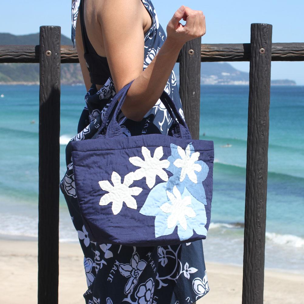 ハワイアンキルト バッグ ティアレ柄 ネイビー 人気 かわいい ギフト プレゼント 女の子 誕生日 ホワイトデー 記念日 プレゼント ハンドバッグ レディースバッグ
