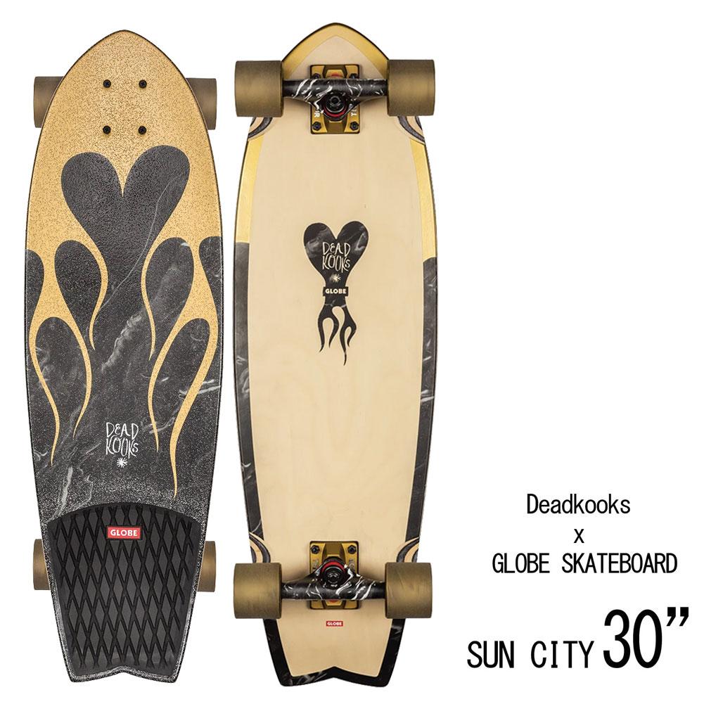 【送料無料】 スケートボード 30インチ デッドクックス×グローブ サンシティ 5.25インチゴールドマーブル スワローテールクルーザー SKATEBOARD GLOBE × DEAD KOOKS SUN CITY DK クルーザー スケート デッキ サーフィン グッズ