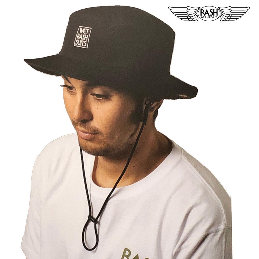 メンズ 帽子 ラッシュ サーフハット ブラック RASH SURF HAT