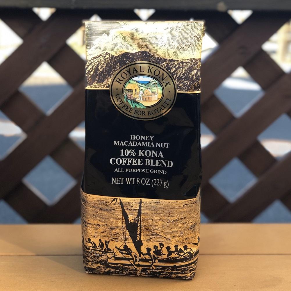 ROYAL KONA Coffee ロイヤルコナコーヒー  10% Kona CoffeeBlend ハニーマカダミアナッツ 8oz 227g