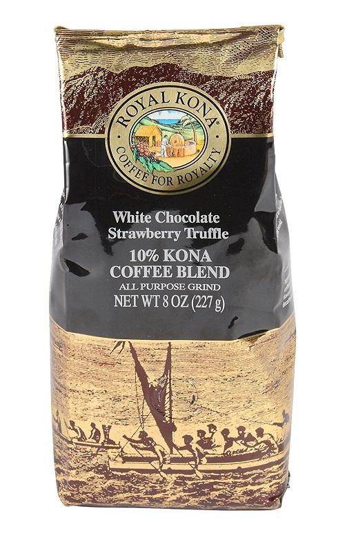 【限定生産】ROYAL KONA Coffee ロイヤルコナコーヒー ホワイトチョコレート ストロベリートリュフ 8oz(227g)