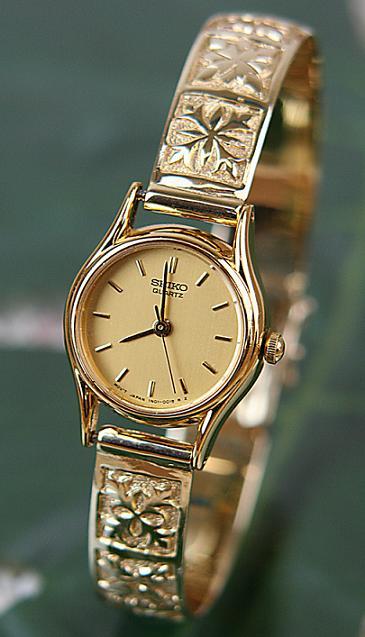 ハワイアンジュエリー 14kゴールドブレスウォッチ 「キルティングデザイン」/時計・ブレスウォッチ ブレス ハワイアンアクセサリー