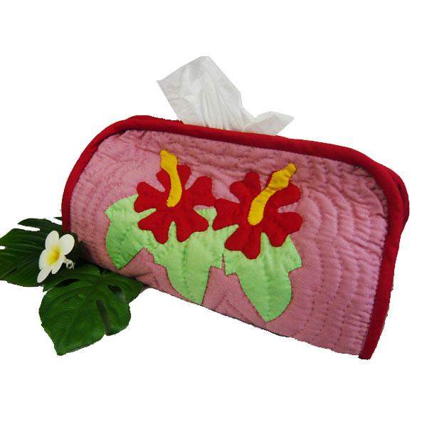 Hawaiian quilt ハワイアンキルトグッズ 「ハイビスカス ティッシュボックスカバー」2カラー