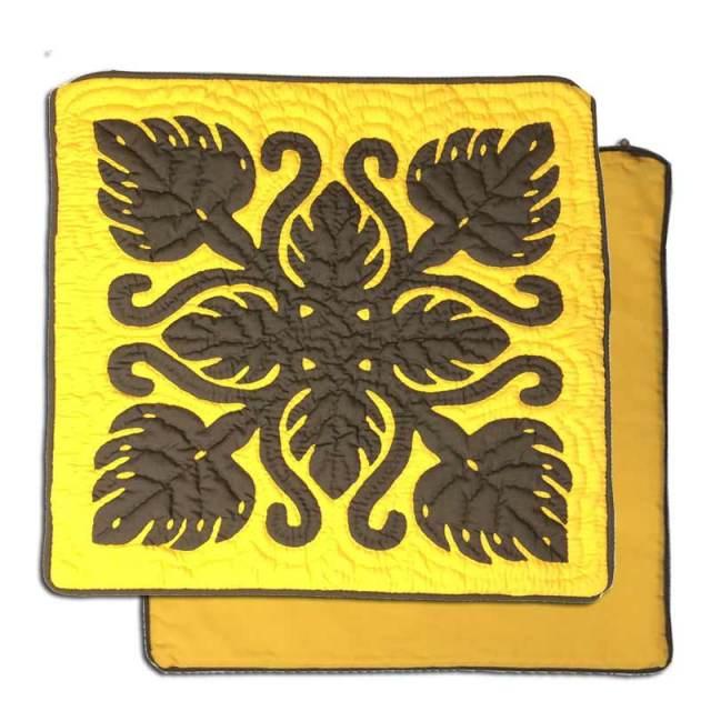 ハワイアンキルト ブラウンモンステラ イエロー生地46cm×46cm クッションカバー/ インテリア Hawaiianquilt ハワイアン雑貨