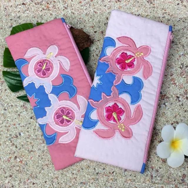 ハワイアンキルト ダブルホヌペンケース ポーチ / Hawaiian Quilt ハワイアン雑貨