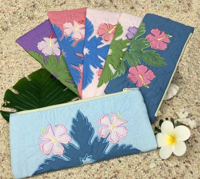 ハワイアンキルト ダブルハイビスカスペンケース ポーチ / Hawaiian Quilt ハワイアン雑貨
