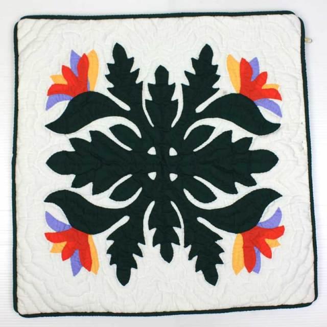 Hawaiian quilt ハワイアンキルト クッションカバー バードオブパラダイス(ストレチア、ゴクラクチョウカ)柄 48x48cm