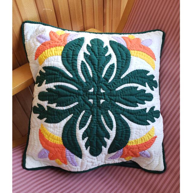 Hawaiian quilt ハワイアンキルト クッションカバー バードオブパラダイス ストレチア ゴクラクチョウカ 46x46cm