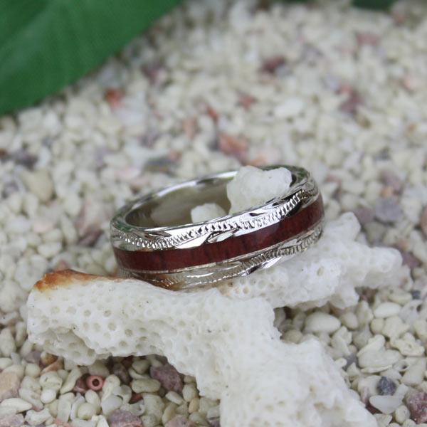 ハワイアンジュエリー コアウッドシルバーリング 幅細/スクロール 指輪