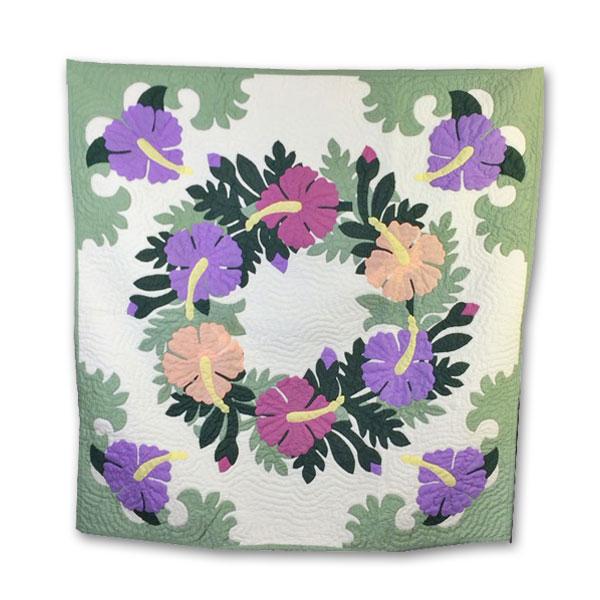 Hawaiian quilt ハワイアンキルトタペストリー ハイビスカス柄 107×107cm/インテリア 壁掛け マット