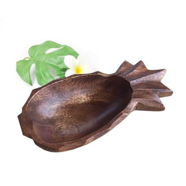 ウッドトレイ ウッドプレート パイナップル ハワイアングッズ / 木製 皿 小物入れ ハワイアン雑貨ハワイアン