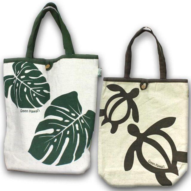 ハワイアン雑貨 Green Hawaii COTTON BAG モンステラ柄&ホヌ柄バッグ