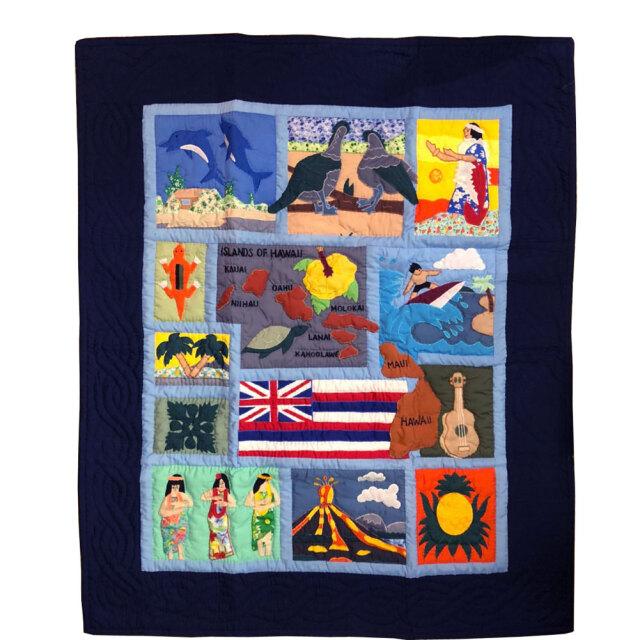 Hawaiian quilt ハワイアンキルトタペストリー  ドリームオブハワイ 123×103cm
