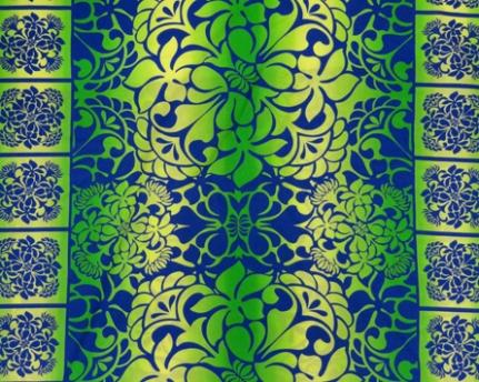 ハワイアン生地 ブルー×グリーン プルメリア&レフア グラデーション パウスカート生地 フラダンス
