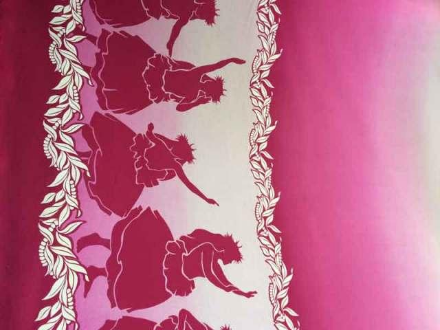 ハワイアン生地 ピンク グラデーション フラガール柄 パウスカート生地 フラダンス