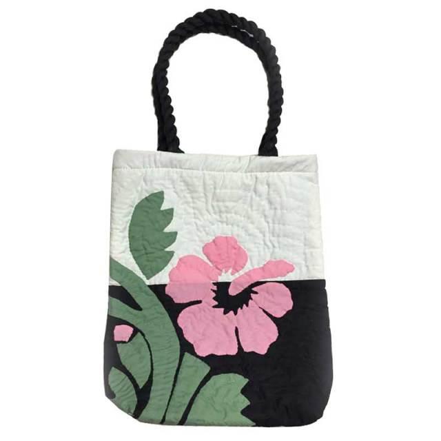 Hawaiian quilt ハワイアンキルト ハイビスカス縦長トート/ハワイアン雑貨