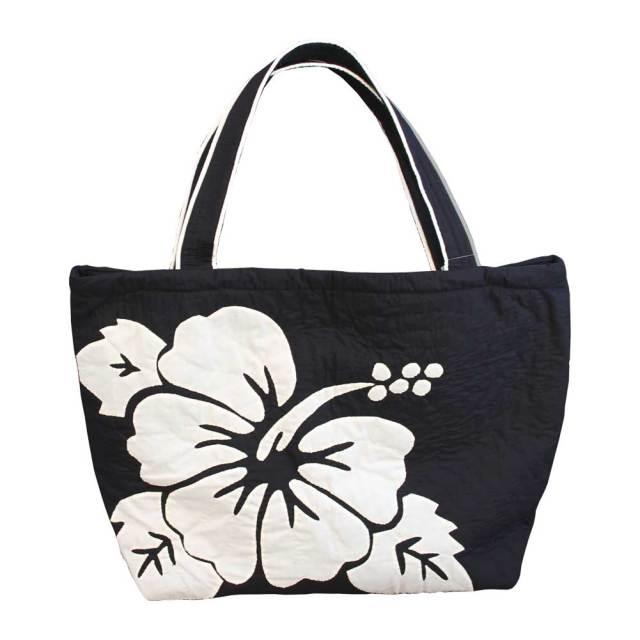 Hawaiianquiltハワイアンキルトバッグ ハイビスカス柄スクエアートートバッグ 大 レディースバッグ
