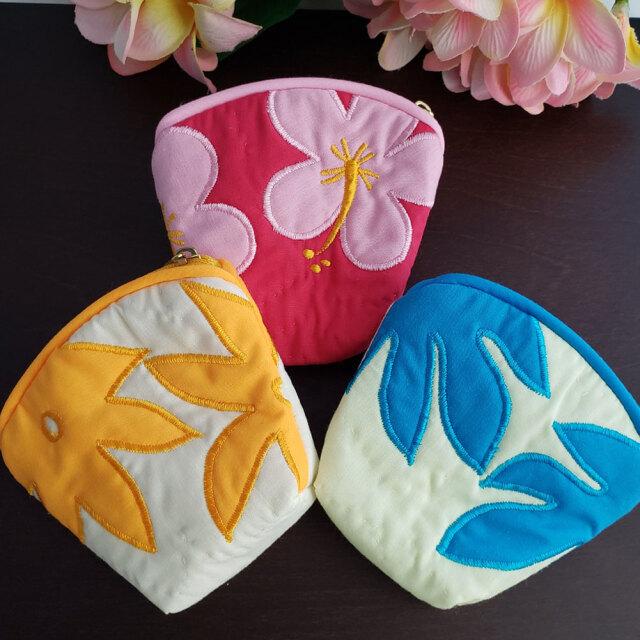 ハワイアンキルト Hawaiian Quilt 花柄コインケース/財布 小銭入れ