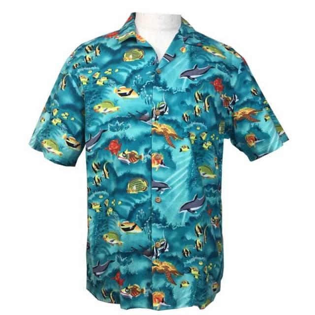 ユーズド アロハシャツ 水族館柄 ハワイアン トロピカルフィッシュ/メンズウェア