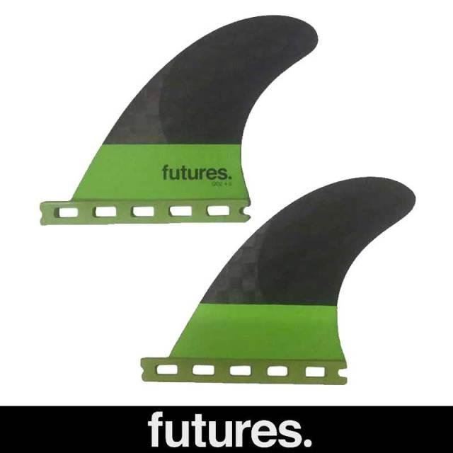 FUTUREFINS BLACKSTIX GREEN QD2 4.00  REAR PAIR Medium/ューチャーフィン クアッドリア ショートボードフィン