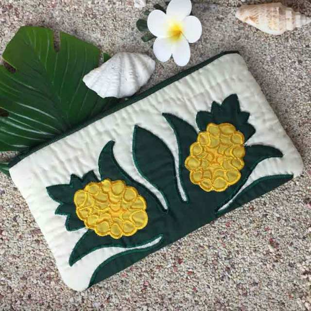 ハワイアンキルト Hawaiian Quilt パイナップル ポーチ 小物入れ ペンケース 財布