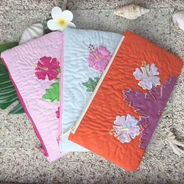 ハワイアンキルト Hawaiian Quilt ハイビスカス ポーチ 小物入れ ペンケース 財布