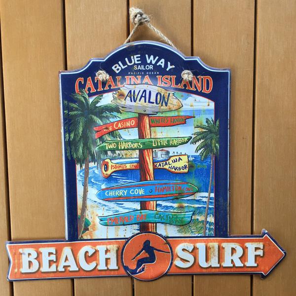 beach surf レトロ調 ティンプレート /サインプレート壁掛け看板 サインボード アルミニウムプレート アメリカ雑貨