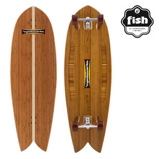 """スケートボード HAMBOARDS 4'5""""FISH NATURAL BAMBOO フィッシュ ナチュラルバンブー/SK8 サーフィン"""