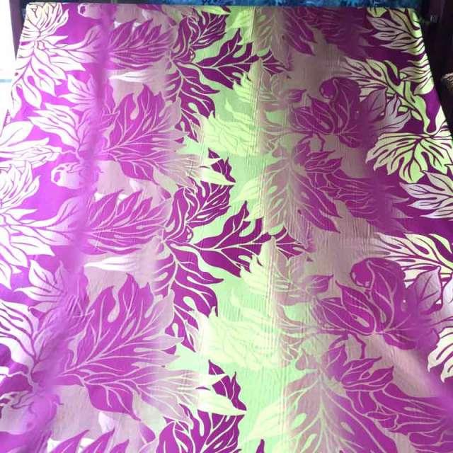 ハワイアン生地 緑*紫グラデ―ション パウスカート生地 フラダンス