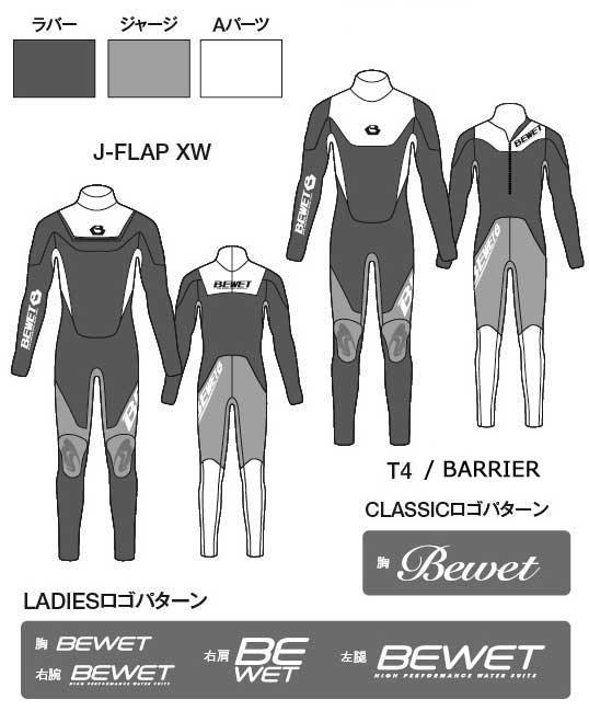 【オーダー可】BEWET メンズウェットスーツ 5/3mm フルスーツ マリーナコラボモデル BARRIER
