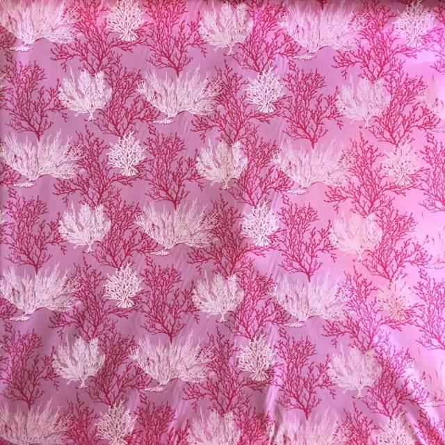 ハワイアン生地 ピンク サンゴ柄/パウスカート生地 フラダンス