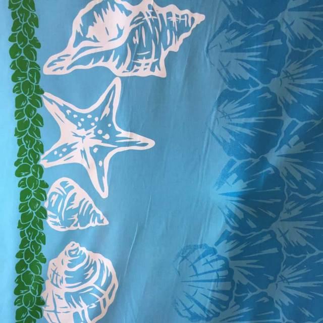 ハワイアン生地 ブルー 貝がら柄/シェル パウスカート生地 フラダンス