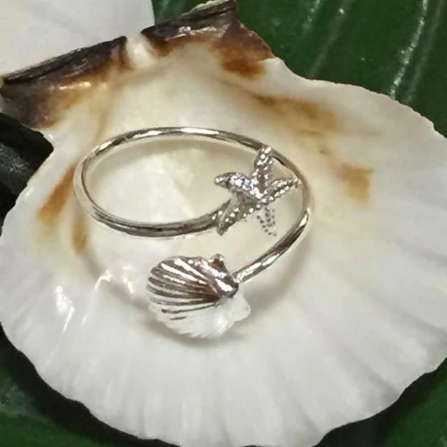 ハワイアンジュエリー シルバートゥーリング スターフィッシュ×シェル/ピンキーリングアクセサリー 足用 指輪