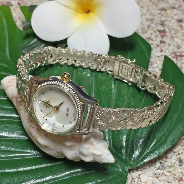 ハワイアンジュエリー シルバーブレスウォッチ ハイビスカス フック/ アクセサリー Hawaiian jewelry ハワジュ 腕時計