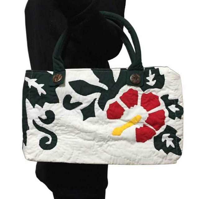 ハワイアンキルト ハイビスカス柄ハンドバッグ ホワイト/Hawaiianquilt レディースバッグ 手提げ