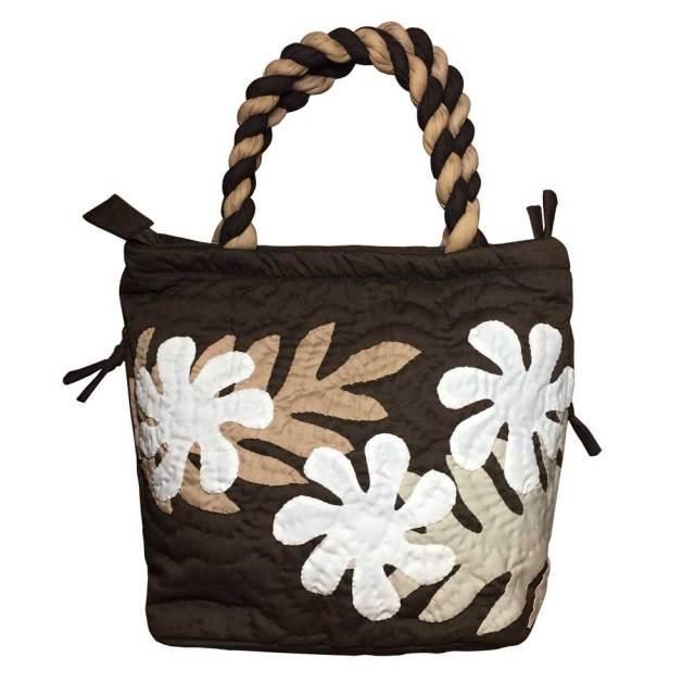 ハワイアンキルト ハンドバッグ プルメリア×モンステラ ブラウン/ Hawaiian quilt レディースバッグ