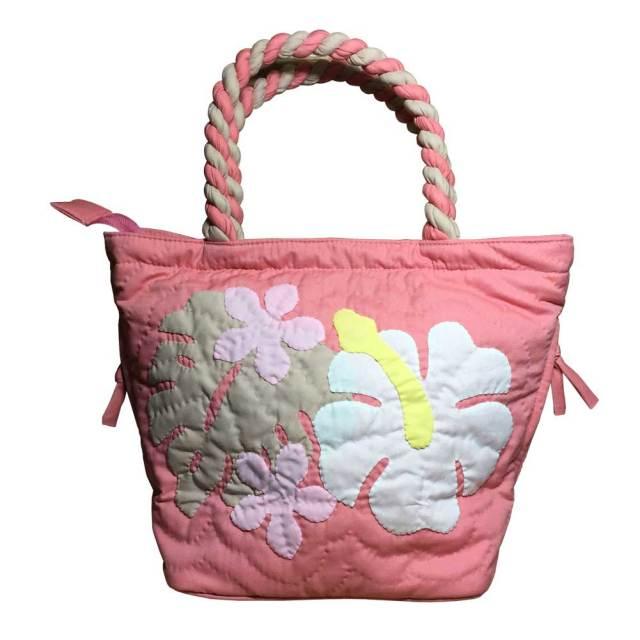 ハワイアンキルト ハンドバッグ ハイビスカス ピンク/ Hawaiian quilt レディースバッグ