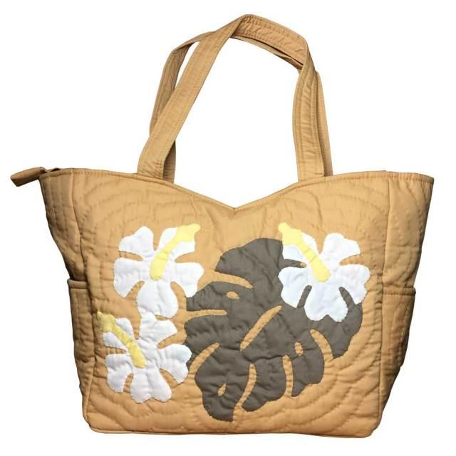 ハワイアンキルト ハンドバッグ モンステラ×ハイビスカス マスタード/ Hawaiian quilt レディースバッグ