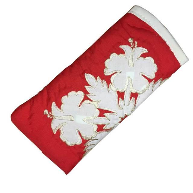ハワイアンキルト メガネケース ハイビスカス柄 レッド/ Hawaiian quilt 眼鏡 サングラスケース