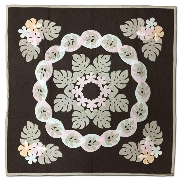 Hawaiian quilt ハワイアンキルトタペストリー モンステラ柄 107×107cm/インテリア 壁掛け マット