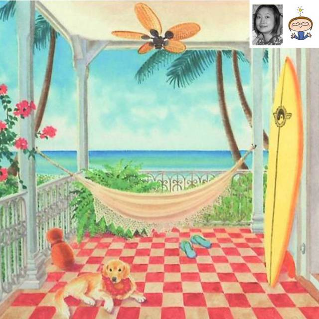 絵画 「my lanai」 栗乃木ハルミ/ サーフィン インテリア フラグッズ ハワイ hk0086