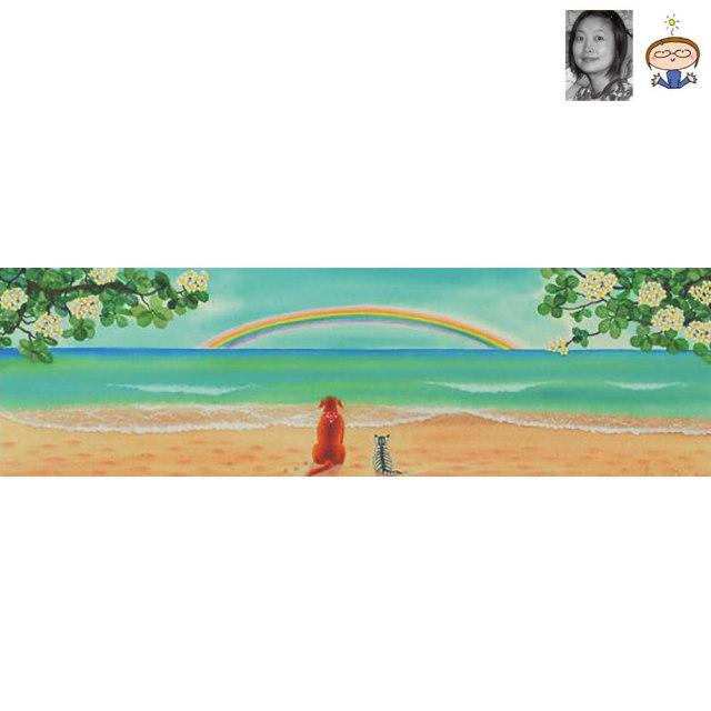 絵画 「友情5」 栗乃木ハルミ/ サーフィン インテリア フラグッズ ハワイ hk0182